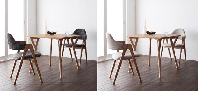 イラーリのチャコールグレイの椅子はモダンな部屋作りに、ナチュラルベージュの椅子は明るく優しい部屋作りに最適です。