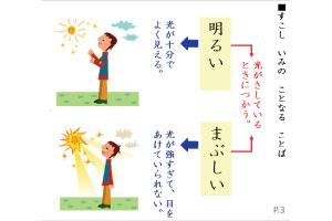 似てるけど意味が異なる言葉もアニメ仕立ての画像によりしっかり理解させる
