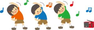 ラジオ体操をしている人の画像