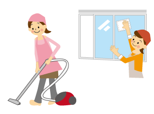 掃除をしている人の画像