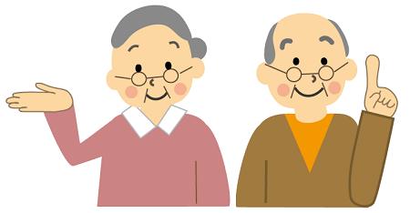 笑顔の老夫婦の画像