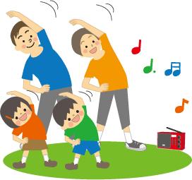 ラジオ体操をする家族の画像